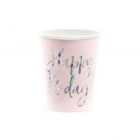 "6 ""HAPPY BIRTHDAY"" CUPS - PINK AND HOLOGRAPHIC"