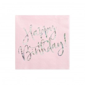 "20 NAPKINS ""HAPPY BIRTHDAY"" - LIGHT PINK AND HOLOGRAPHIC"