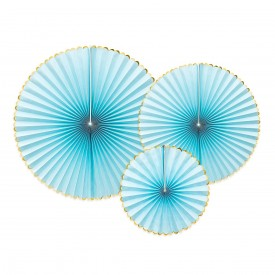 SET OF 3 ROSETTES – LIGHT BLUE AND GOLD