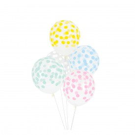 5 PRINTED BALLOONS – COLOURED CONFETTI