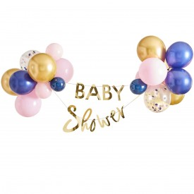 BABY SHOWER BANNER AND BALLOON - PINK AND BLUE