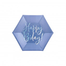 "6 ASSIETTES ""HAPPY BIRTHDAY"" - BLEU ET HOLOGRAPHIQUE"