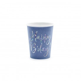 "6 ""HAPPY BIRTHDAY"" CUPS - BLUE AND HOLOGRAPHIC"