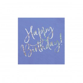 "20 NAPKINS ""HAPPY BIRTHDAY"" - BLUE AND HOLOGRAPHIC"
