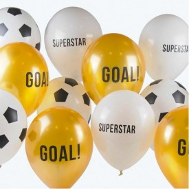 "12 ""MIX FOOTBALL"" BALLOONS - GOLD"