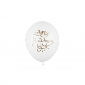 """HAPPY BIRTHDAY TO YOU"" PRINTED BALLOON - WHITE AND GOLD"