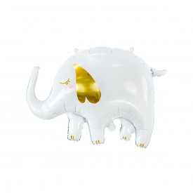 ELEPHANT FOIL BALLOON - WHITE AND GOLD