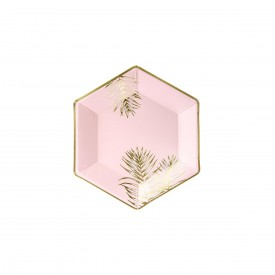 6 TROPICAL PLATES - PINK AND GOLD