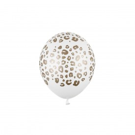 LEOPARD PRINTED BALLOON - WHITE AND GOLD