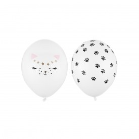2 PRINTED BALLOON CAT - BLACK AND PINK