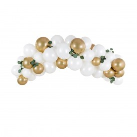 BALLOON ARCH - WHITE AND GOLD GLOSSY