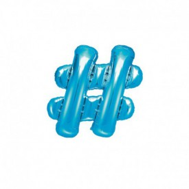 SMALL MYLAR FOIL HASHTAG BALLOON – BLUE