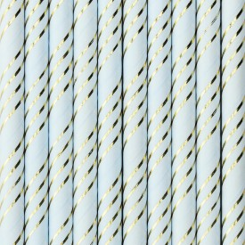 10 STRAWS – LIGHT BLUE AND GOLD