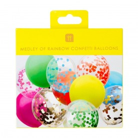 12 LATEX BALLOONS - MULTICOLORE AND CONFETTI