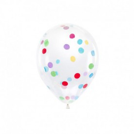 6 LATEX BALLOONS – MULTICOLOURED CONFETTI