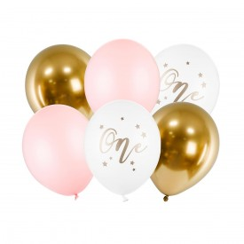 "6 ""ONE"" BALLOONS - PINK AND GOLD"