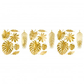 21 PAPER DECORATIONS - TROPICAL LEAVES GOLD