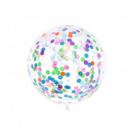 GIANT LATEX BALLOON – MULTICOLOURED CONFETTI