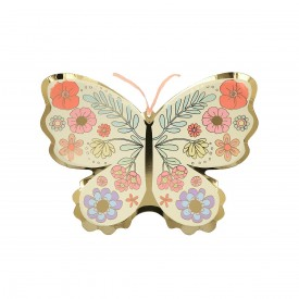 8 BUTTERFLY PLATES - GOLD