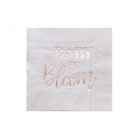 """16 SERVIETTES """"BABY IN BLOOM"""" - Or rose"""
