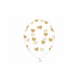 6 TRANSPARENT BALLOONS – GOLD HEARTS