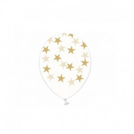 6 TRANSPARENT BALLOONS – GOLD STARS
