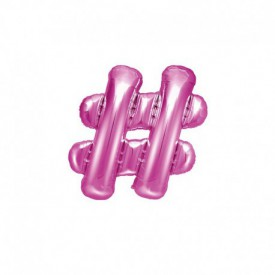 SMALL MYLAR FOIL HASHTAG BALLOON – PINK