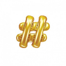 SMALL MYLAR FOIL HASHTAG BALLOON – GOLD
