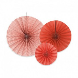 SET OF 3 ROSETTES – RED PATTERNS