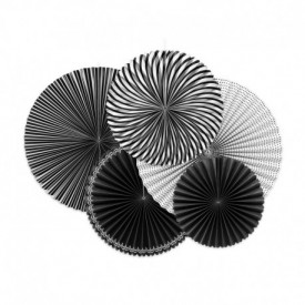 SET OF 5 ROSETTES – BLACK AND WHITE