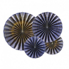 SET OF 4 ROSETTES – DARK BLUE AND GOLD