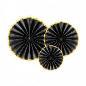SET OF 3 ROSETTES – BLACK AND GOLD