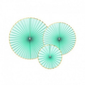 SET OF 3 ROSETTES – MINT AND GOLD