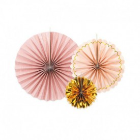 SET OF 3 ROSETTES – PINK AND ROSE GOLD