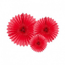 SET OF 3 ROSETTES – RED